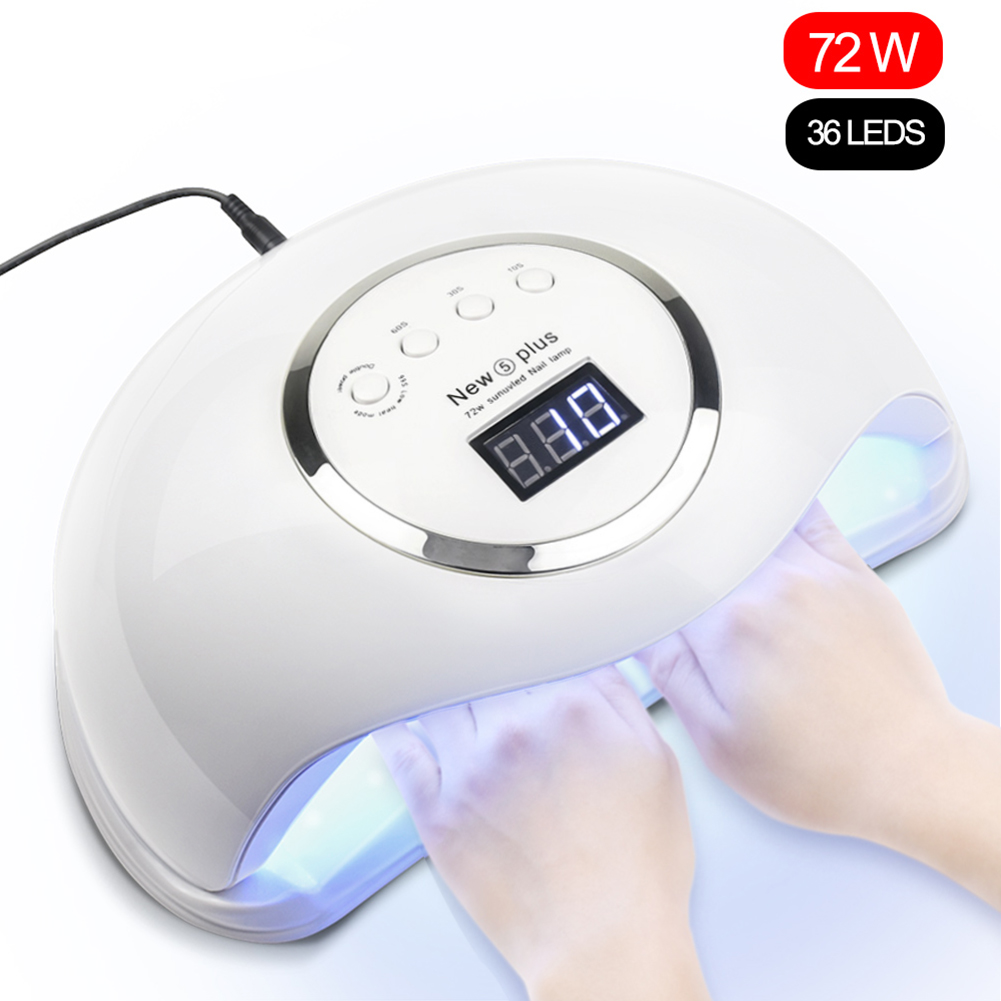 NEW5 PLUS 72W UV Lamp UV LED Lamp Nail Dryer UV LED Nail Gel Polish Curing Nail Lamp With Bottom Timer LCD Display For Manicure