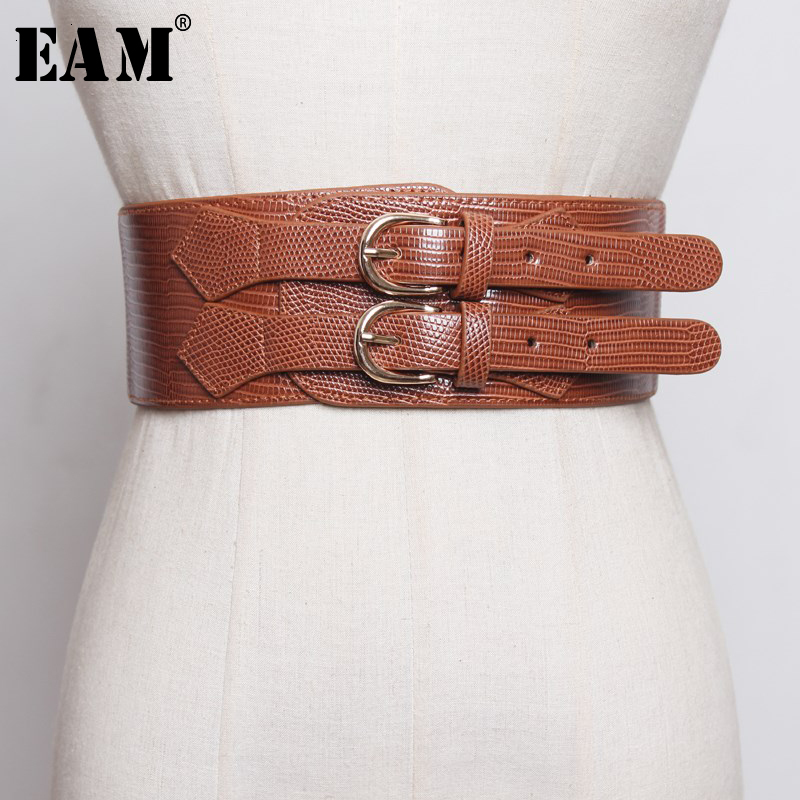 [EAM]  Pu Leather Double Buckle Split Elastic Wide Belt Personality Women New Fashion Tide All-match Autumn Winter 2020 1H974