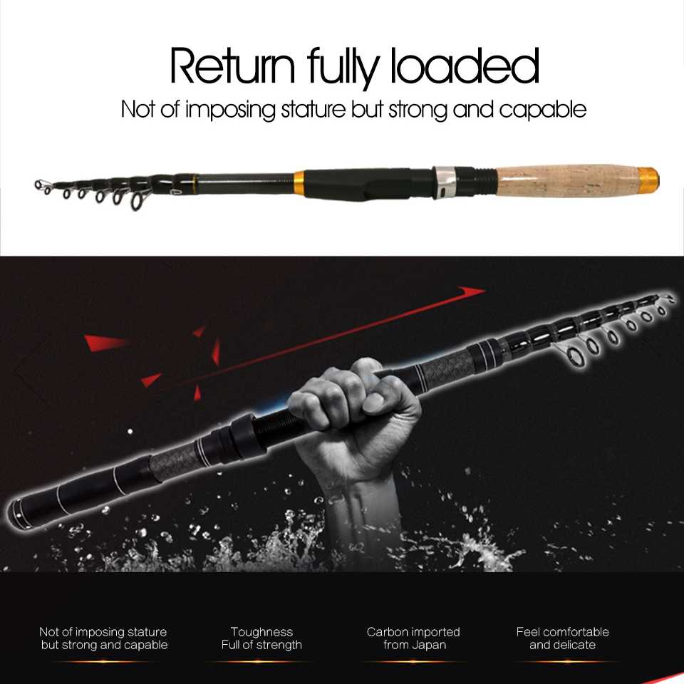 Spinning Rod Carbon Multifunction Fishing Pole Telescopic 180-300 Travel Cm U5C1