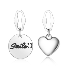 New Fashion Vintage 925 Silver Asymmetry lovely Heart Smile Round Stud Earrings Women Personality Web Celebrity Earring  Jewelry sunnyyou vintage antique silver star asymmetry beer heart drop earrings women personality gothic punk earring korea jewelry