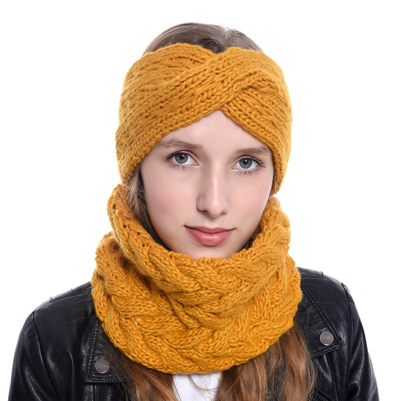 2019 Wool Knitted Thick Winter Women MS Headband Ring Sets Cap Hat Scarf Neck Ear Warm Outdoor Fashion Accessories-XMC-W6