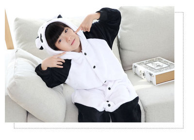 Flannel Cute Panda Animal One-piece Pajama Long Sleeve Cartoon Autumn & Winter Children Baby Coral Boys And Girls