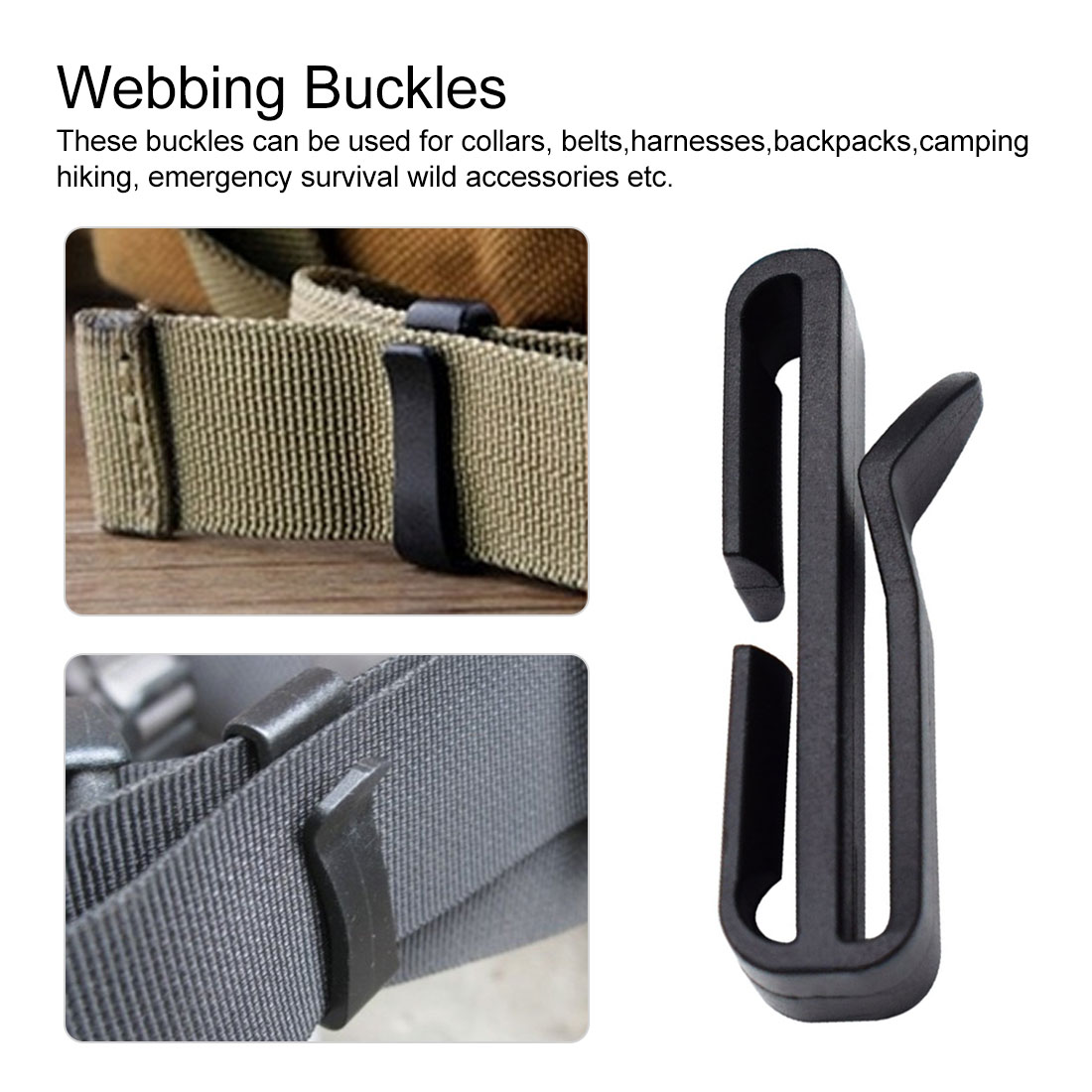 Camping Accessary  Backpack Buckle 2pcs Plastic Buckle Quick Slip Keeper Webbing Ending Clips Adjusting Strap Belt Backpack