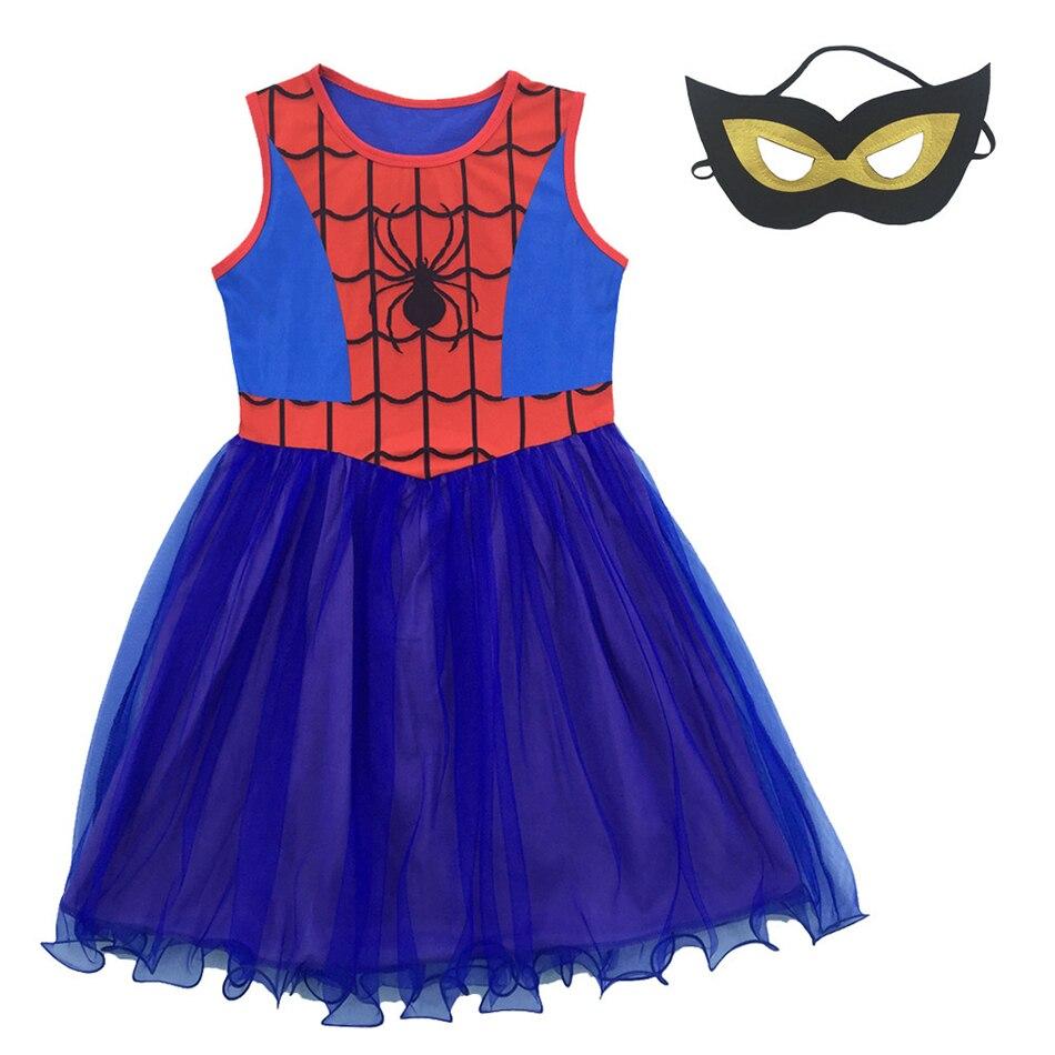 Платье для девочек, Костюмы супергероев, детская одежда для косплея для выступлений, детвечерние наряд для Хэллоуина, костюм для девочки