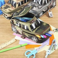 소년을위한 조합 자물쇠를 가진 연필 상자 차량 펜 주머니 부대 두 배 지퍼 위장 화포 큰 귀여운 학교 연필 상자
