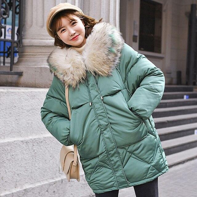 Ciepła kurtka zimowa damska 2020 moda futro z kapturem kołnierz puchowy płaszcz bawełniany kobiety koreański jednokolorowy luźny duży rozmiar damski płaszcz