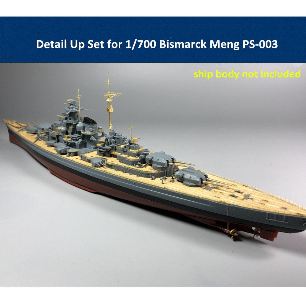 Detail Up Set For 1/700 Scale Bismarck Meng PS-003 Ship Model CYE006B (Metal Barrels Wooden Deck PE Part)