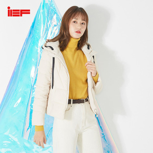 IEF 2019 Winter Fashion Solid Short Cotton Coat Women Causal Hooded Ziper Cuff Elastic Band Jacket Top 0601F-D07-(China)