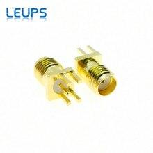 100 sztuk SMA żeńskie gniazdo 1.6mm 1.2mm 1.0mm rozstaw krawędzi lutowane PCB prosto zamontować RF złącze pozłacane