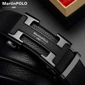Image 2 - MartinPOLO Männer Gürtel Luxus Automatische Schnalle Genune Lederband Schwarz für Herren Gürtel Designer Marke Hohe Qualität MP02801P