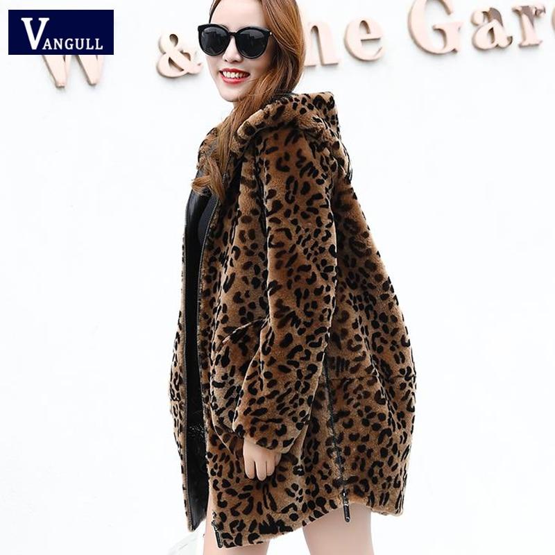 Vangull Women Leopard Faux Fur Coats Winter Warm Thick Hooded Jacket 2019 New Fashion Long Sleeve Zipper Loose Plus Size Jacket
