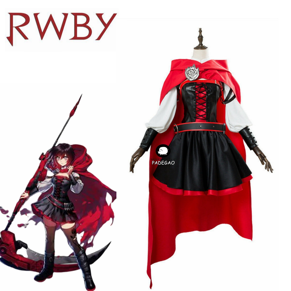 Ruby Rose RWBY Cosplay 3 Season Red Dress Cloak Battle Uniform Costume Anime RWBY Ruby Rose Cosplay Costume Women image
