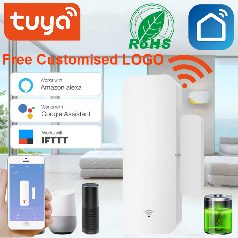 Tuya Smart Door Window Sensor WiFi Door Open Closed Detectors Security Alarm Compatible with Alexa Google Home App Notification