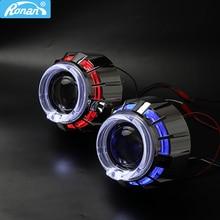 RONAN mini 2.5 double LED angel eyes drl Bi xenon Projector 8.1 car headlight Lens h1 retrofit DIY h4 h7 car styling