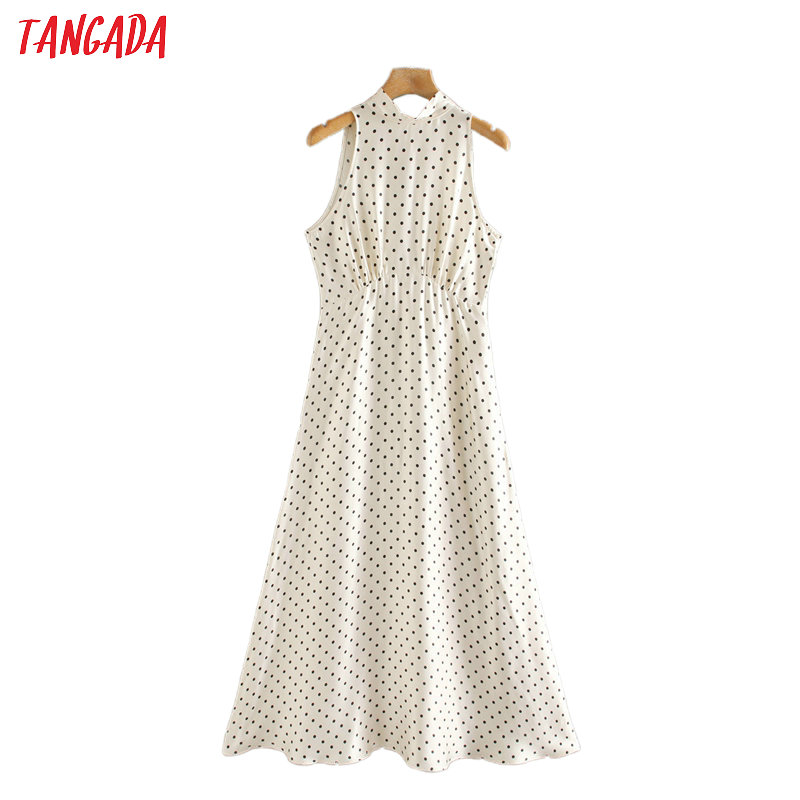 Tangada 2020 Summer Fashion Women Dots Print Dress Sleeveless Back Bow Ladies Vintage Midi Dress Vestidos 2W150
