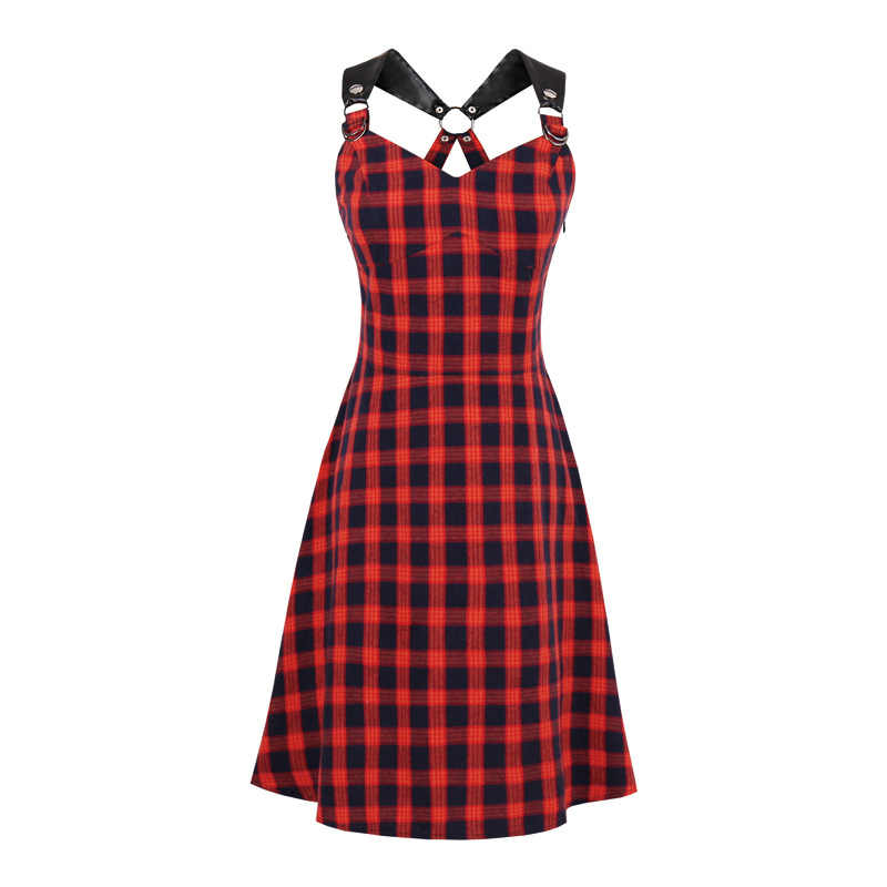 Donker Rode Plaid Jurk Vrouwen Casual Vintage Plaid Spaghetti Band Sexy Slim Retro Punk Goth Jurken