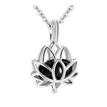 Pendant Necklace Memorial Ash-Holder Pet-Urn-Jewelry Cremation Lotus Black Women Hollow