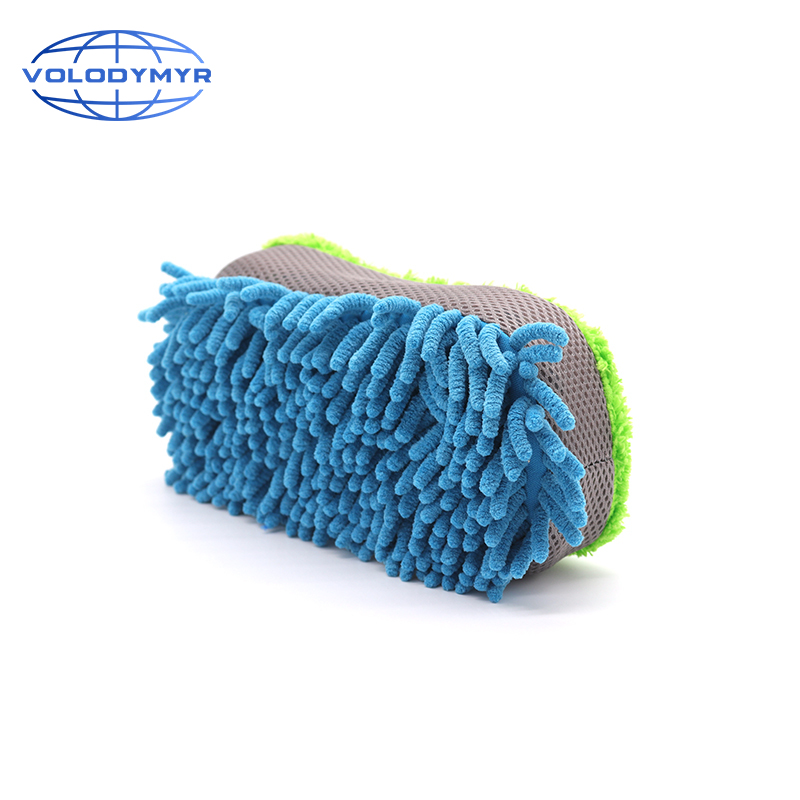 8 Shape Chenille Car Wash Sponge Blue And Green Microfiber Pad Washing Tools Rim Cleaner For Auto Cleaning Detailing Detail