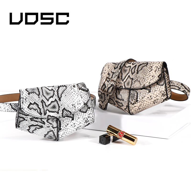 UOSC Fanny Pack Women Waist Belt Bag Serpentine Vintage Waist Bags Girl Fashion Bum Pouch Phone Leather Chest Packs