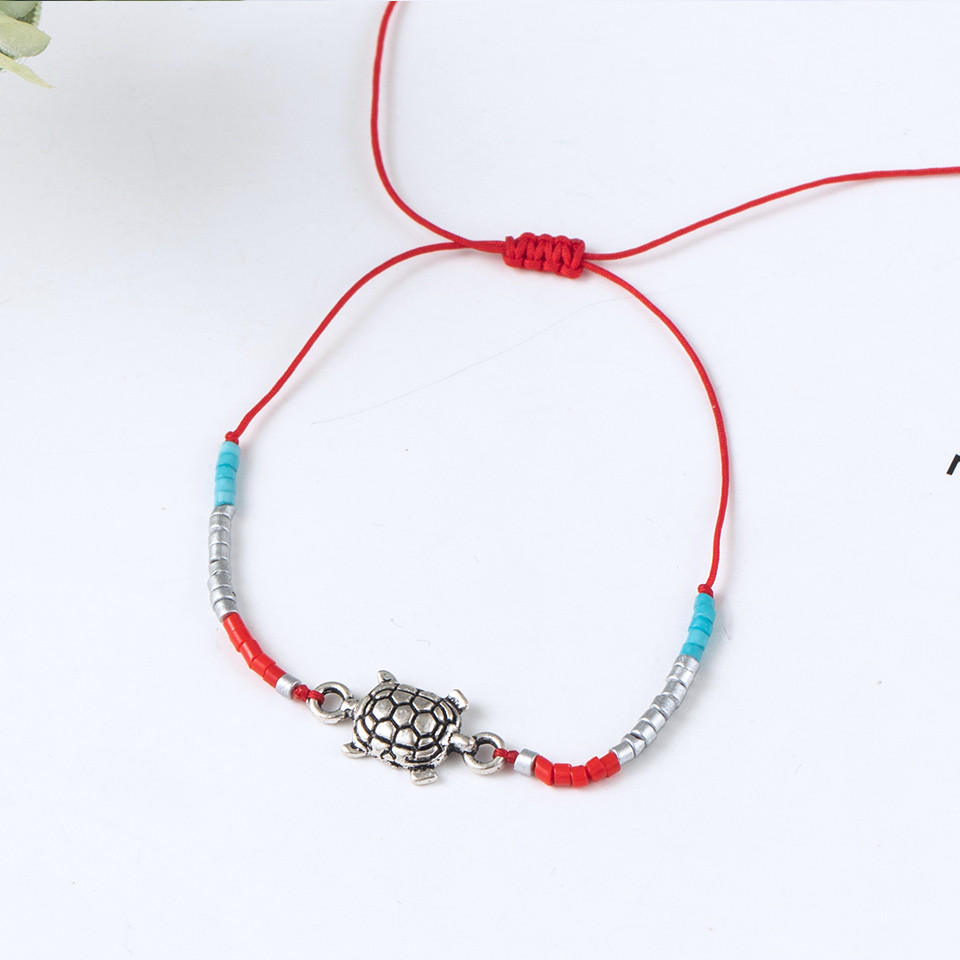 Boho Ankle Bracelet Bohemian Colorful Heart Beads Jesus Cross Turtle Butterfly Infinity Triangle Anklet Women's Leg Bracelet (21)