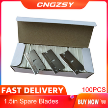 CNGZSY 100PcsโลหะใบมีดมีดโกนกาวScraperมีดแก้วทดแทนใบมีดเหล็กคาร์บอนรถTintingเครื่องมือE13
