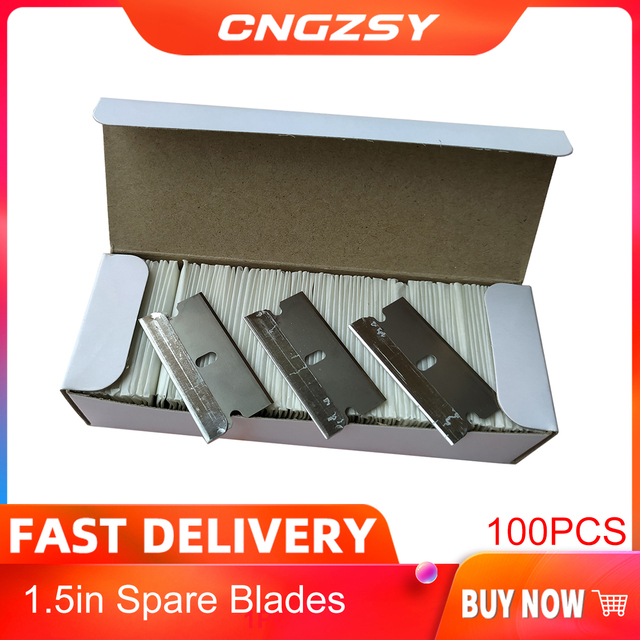 CNGZSY 100pcs Metallo Lame di Rasoio di Sicurezza Raschietto Colla di Vetro Coltello Pulitore di Ricambio Lama In Acciaio Al Carbonio Auto Colorazione Strumenti E13