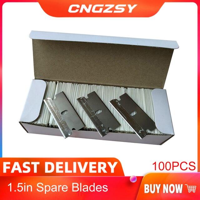 CNGZSY cuchillas de Metal de seguridad, rascador de pegamento, cuchillo limpiador de vidrio, hoja de acero de carbono de repuesto, herramientas de tintado de coche E13, 100 Uds.