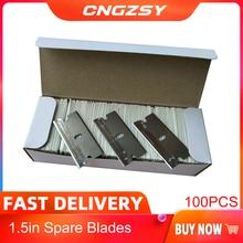 Cngzsy 100Pcs Metalen Bladen Veiligheid Scheermes Schraper Lijm Mes Glas Schoner Vervanging Carbon Staal Blade Auto Tinting Gereedschap E13