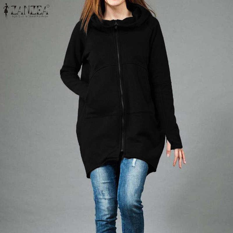 Women Hoodies 2020 ZANZEA Fashion Sweatshirts Ladies Casual Long Sleeve Hooded Zipper Up Outwear Loose Pockets Hoody Plus Size