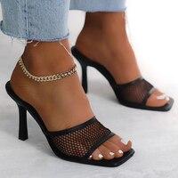 Sandalias modernas de moda para mujer, zapatos de vestir de boda sexys con punta abierta y tacón alto sólido alto, transpirables, para verano, 2021