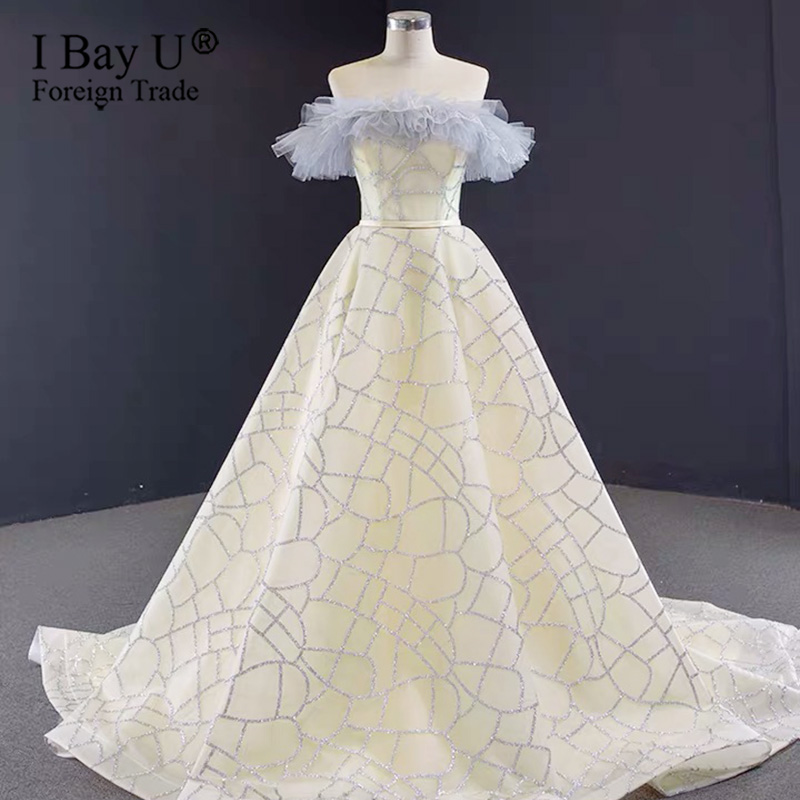 Champagne Beige Off Shoulder Sparkle Formal Dress 2020 Sexy Glitter A-Line Evening Dress Custom Made