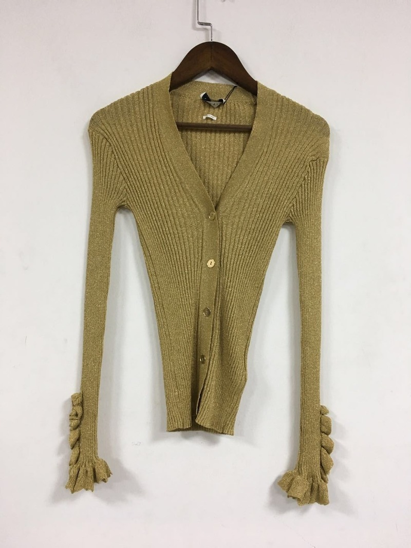 Women Sweater Metallic Rib Sleeve Slim-Fit Sweater