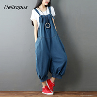 Helisopus Fashion Loose High Waist Irregular Women Denim Jumpsuits Solid Color Casual Drop Crotch Sleeveless Romper