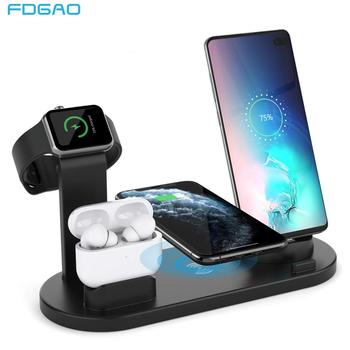 FDGAO Qi Wireless Charger Stand For Apple Watch 5 4 3 2 1 iPhone 11 X XS XR 8 Airpods Pro 10W Fast 4 in 1 Charging Dock Station