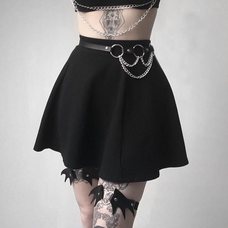 Punk Leather Garter Belt Women Sexy Fetish Garters For Woman Leg Harness Bdsm Stockings Chain Belt Erotic Suspender Waistband