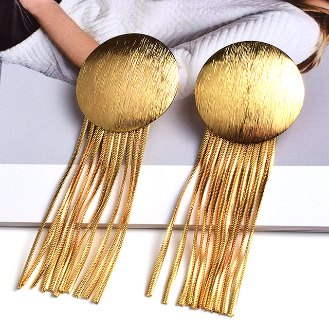 Gold Metal Chain Tassel Earrings  1