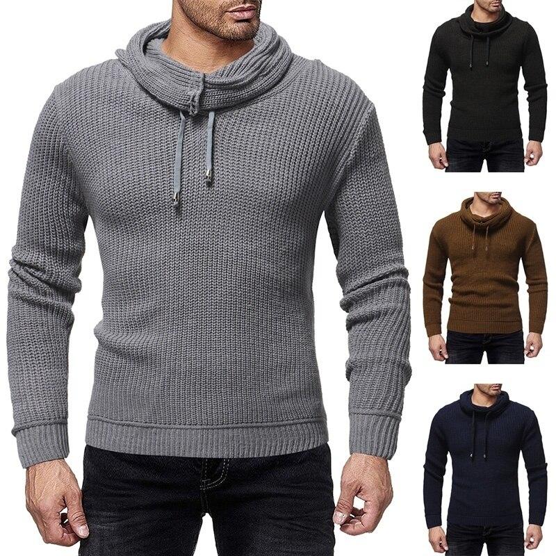 ZOGAA Men's Knitted Sweaters Casual Long-sleeved Solid Heap Collar Sweater Slim Sweaters Streetwear Men Autumn Winter Pullovers