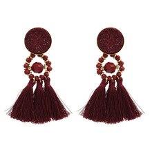 FIAZIA Resin Tassels Drop Earrings For Women Jewelry Accessories Statement Bijou Bead Face Dangle Earrings Line Tassels Earring цена и фото