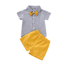 High Quality Baby Boy Clothes Set Summer set For Boy Gray Tops+Breathable Short Pant 0-2Years Kids Clothes Set with Bow Tie D35 format kids boy 16