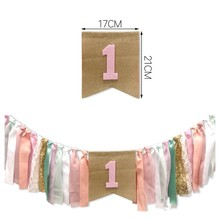 1pcs Banner Theme Party Dinner Chair Pull Flag ins pibk Girl Pull Flags Baby Shower 1st Birthday Party Highchair Banners Decor(China)