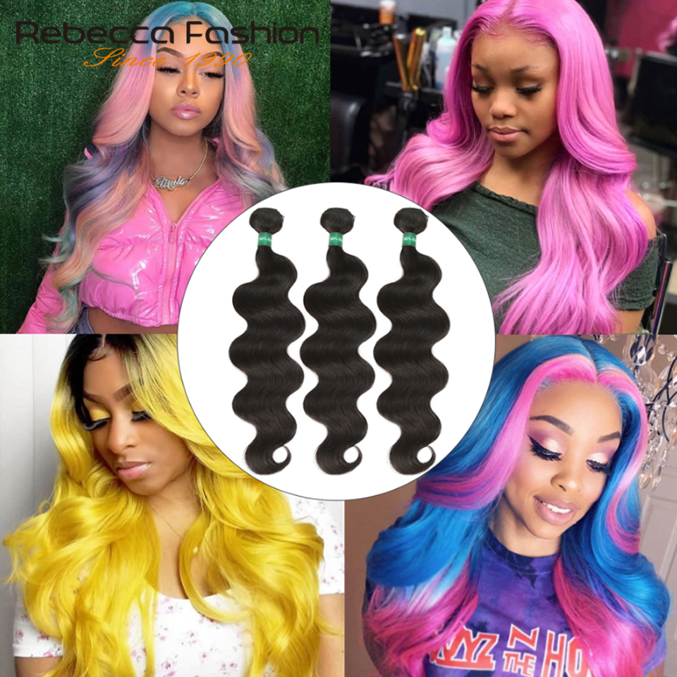 Rebecca Fashion Brazilian <font><b>10A</b></font> <font><b>Grade</b></font> One Donor Thick Virgin <font><b>Hair</b></font> Body Wave 100% Unprocessed Human <font><b>Hair</b></font> Bundles Raw <font><b>Hair</b></font> Weave image