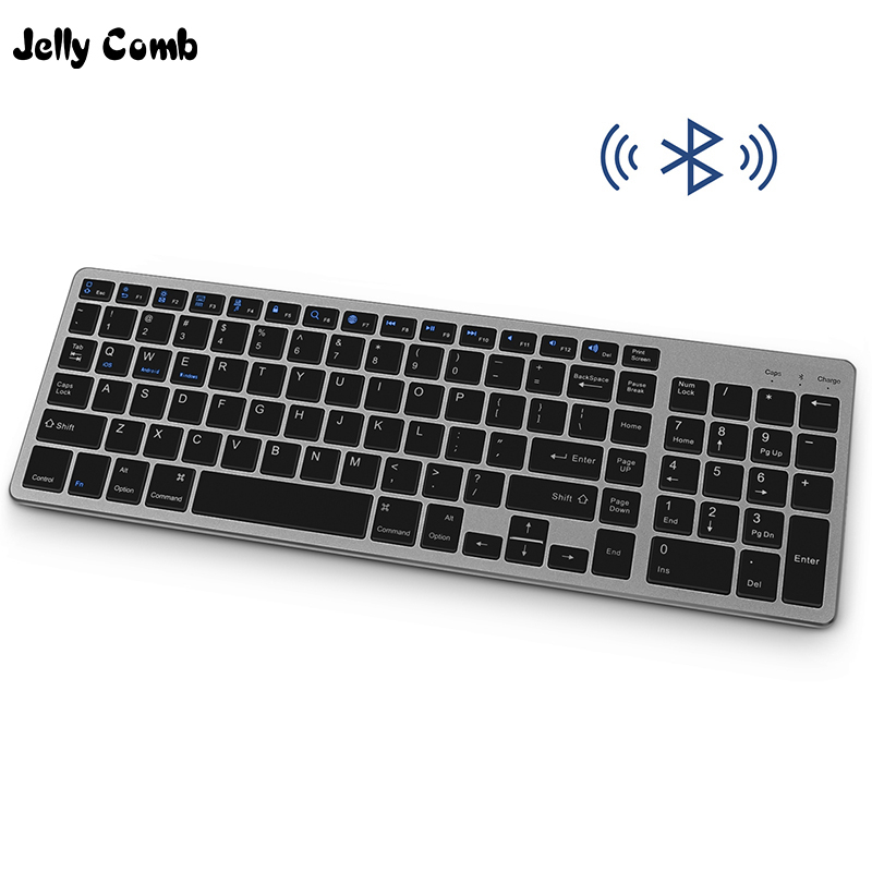 Jelly Comb Slim Wireless Bluetooth Keyboard For Tablet Laptop Smartphone IPad Rechargable Wireless Keyboard With Numeric Key