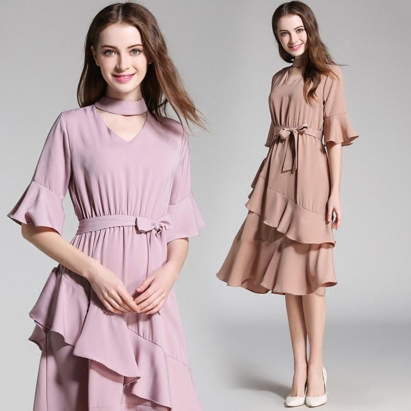 Ozhouzhan 2017 Amoi Pin Nv Zhuang Hollow Out V Shaped Crew Neck Dress Short Bell Sleeve Flounced Skirt