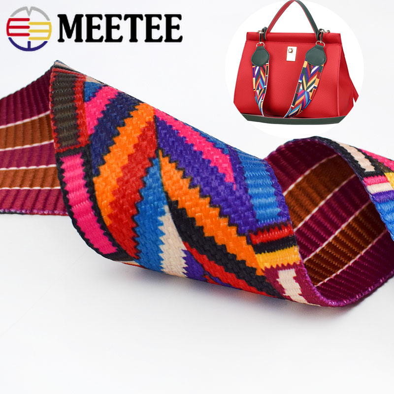 Meetee 5Meter 32/38/50mm Ethnic Jacquard Webbing Bag Belt Ribbon for DIY Home Textile Clothing Belt Decor Sewing Accessory BD385  - buy with discount