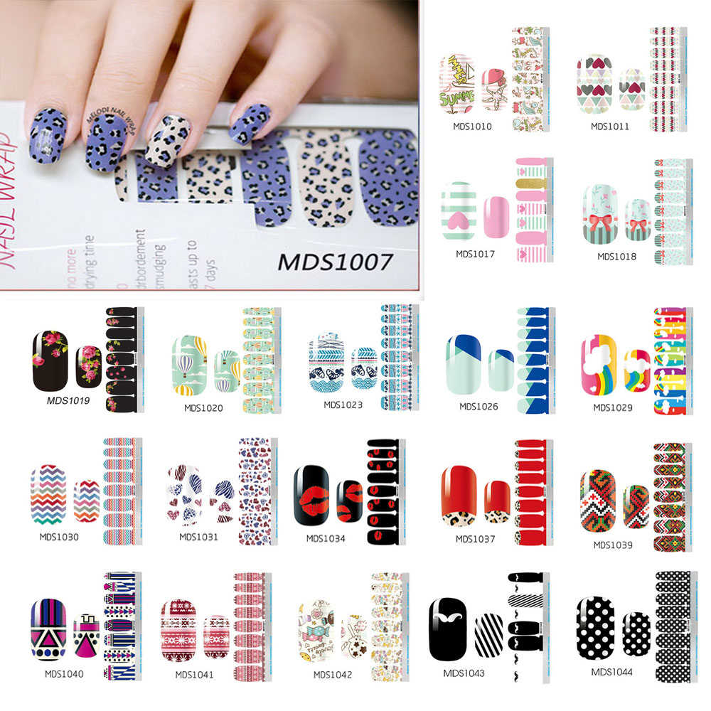 Nagellak Strips Diy Waterdicht Nail Wraps Leuke Cartoon Patroon Nail Stickers Nail Patch Voor Vrouwen Nail Art Stickers