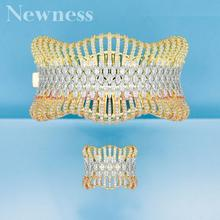 Newness luxury Statement African Gold Bangle Cuff Ring Sets For Women Wedding Cubic Zircon Crystal CZ Dubai Bridal Jewelry Sets