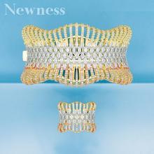 Yenilik lüks bildirimi afrika altın bileklik manşet yüzük setleri kadınlar için kübik zirkon kristal CZ Dubai gelin takı setleri