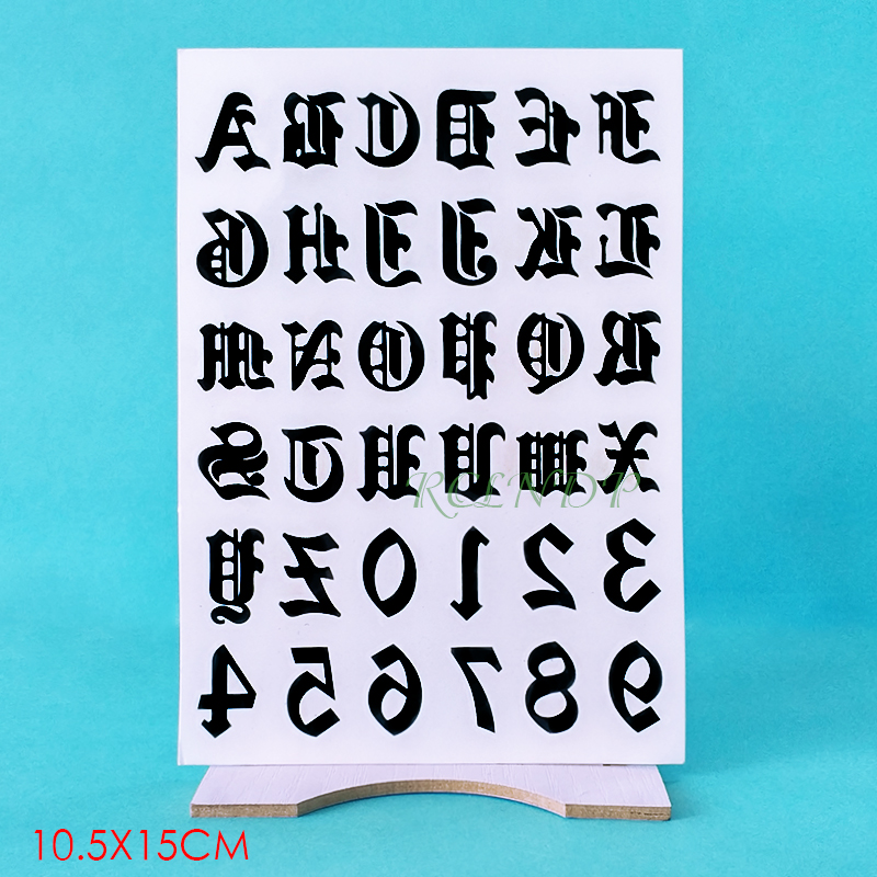 Waterproof Temporary Tattoo Sticker English Letter Arabic Numerals Fake Tatto Flash Tatoo Hand Arm Finger Tato For Women Men Boy