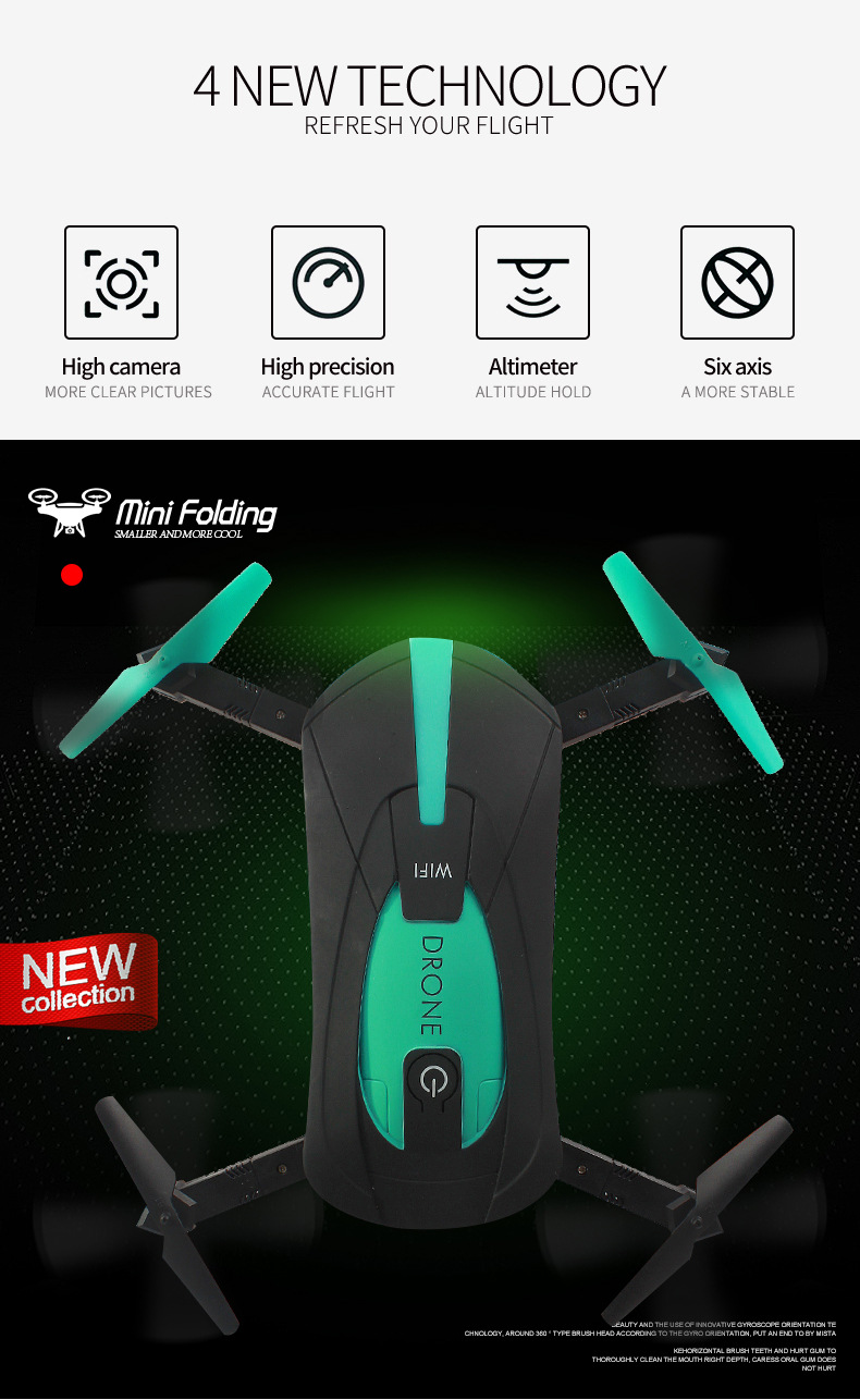 Jy018 Folding Transformation Remote Control Aircraft WiFi Pocket Unmanned Aerial Vehicle Aerial Photography Quadcopter Pressure