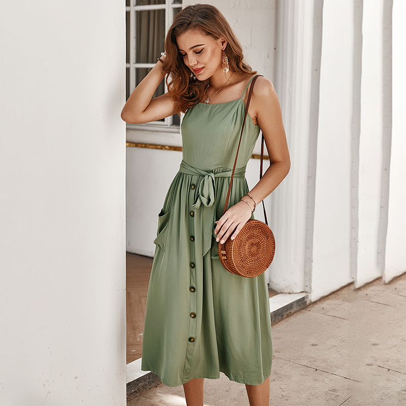 Summer Women Solid Color Sexy Sling Dress Casual  Sleeveless Slash Neck Button Decoration High Waist Ladies Holiday Party Dress